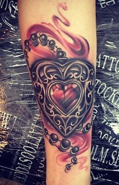 filigree heart locket tattoo - Google Search