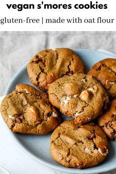 Sin Gluten, Gluten Free, Dairy Free, Oat Flour Cookies, Cookies Vegan, Biscuit Cookies, Healthy Cookies, Chocolates, Vegan Marshmallows