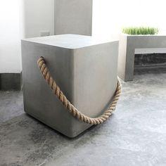 Lyon Beton Concrete Soft Edge Stool With Wheels & Rope Concrete Stool, Concrete Furniture, Concrete Cement, Decorative Concrete, Polished Concrete, Garden Furniture, Beton Design, Concrete Design, Concrete Crafts