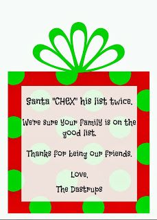 Cute Christmas gift tag idea for Chex mix.