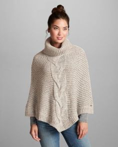 Women's Cable Poncho Sweater | Eddie Bauer