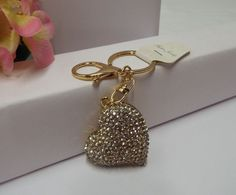 $10.99 Sparkling Heart  Purse Charm & Key Ring Shiny Clear Crystals Gold Metal #CrystalJewelry