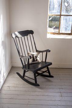Zwarte vintage schommelstoel - Firma Zoethout