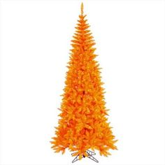 Lighted Orange Halloween Tree