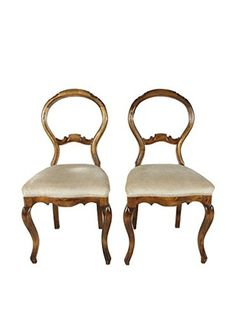 Pair of French Walnut Balloon Back Chairs, Brown/Beige