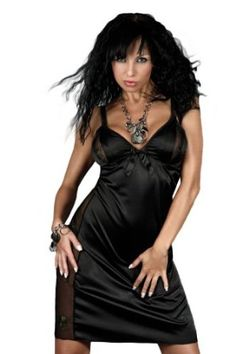 Womens Black Delicate Satin Slip Lingerie Dress with Lace Panels and Matching Shorts Ladies Set
