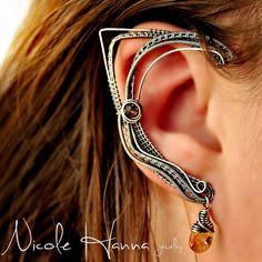Wire wrapped elf ears by Nicole Hanna Jewelry Ear Jewelry, Stone Jewelry, Jewelry Making, Jewlery, Elf Ear Cuff, Ear Cuffs, Elf Ears, Wire Wrapped Earrings, Wire Earrings