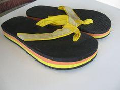 Vintage Rainbow Flip Flop's Sandals Orange Yellow Black 1980's Size 9 1/2