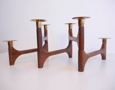 Vintage Mid Century Candleholder / Danish Modern Teak and Brass Articulating Candlelabra. $78.00, via Etsy.