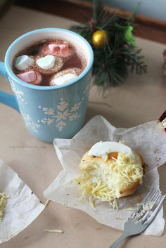 Bibingka with Spiked Hot Chocolate Recipe | My new favourite bibingka recipe that creates nice and fluffy bibingka, served with the season's favourite chocolate drink with a little kick of rum. Recipe on the blog! :)