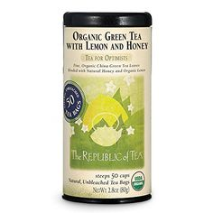 The Republic Of Tea, Organic Green Tea With Lemon And Honey, 50 Tea Bag Tin ** Find out more about the great product at the image link.