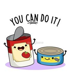 "From classy to sassy, these are the puns that can make anyone laugh (or roll their eyes at least). So scroll down below, vote for the funniest, and let us know ""You Can Do It Food Pun"" by punnybone Funny Food Puns, Puns Jokes, Food Humor, Funny Memes, Jokes Kids, Cute Food Drawings, Funny Drawings, Kawaii Drawings, Funny Doodles"