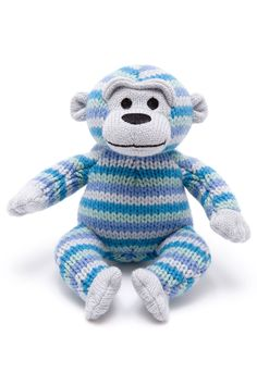 doudou singe en tricot. Hochet en tricot original. Doudou éthique.