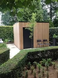 Outside / Thermowood Garden Office Shed, Backyard Office, Backyard Studio, Garden Studio, Landscape Architecture, Landscape Design, Garden Design, Outdoor Sheds, Outdoor Gardens