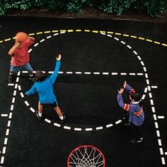 Create your own regulation #basketball #court on any #permanent #surface such as asphalt or concrete  Meets high school and NCAA specs  No measuring, just roll out the heavy duty paper sections and use the included paint roller to begin painting (paint not included)