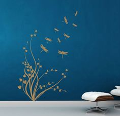 Plant with dragonflies. Floral Wall Decal. Wall by decoryourwall