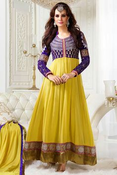 Presenting Yellow and Purple Faux Georgette #Anarkali #Suit with Embroidered and Lace Work Order Now@ http://zohraa.com/yellow-and-purple-faux-georgette-anarkali-suit.html Rs. 4,299.
