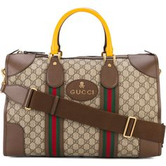 Gucci Monogram Duffle Bag with Webbing ($1,980) ❤ liked on Polyvore featuring men's fashion, men's bags, brown, mens leather duffle bag, mens leather duffel bag, mens duffel bags, mens leather bags and mens monogrammed toiletry bag