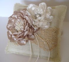 Ring Bearer Pillow Ivory Burlap and Champaign by theraggedyrose