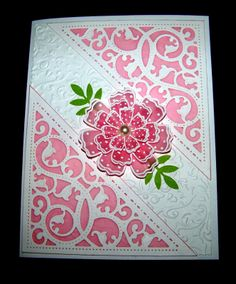 Pink floral card using Spellbinders Gold Elements