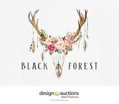 Premade Logo DIY Instant Download Logo Design Antler Logo Floral Deer Logo Photoshop