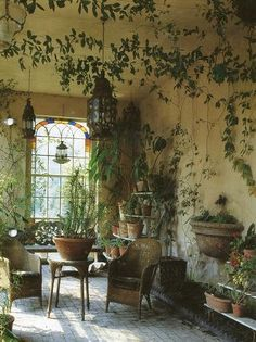I like the idea of growing a garden inside a home but nothing overpowering something simple. I really think this pic is so breathtaking. I would love to sit in this garden room.