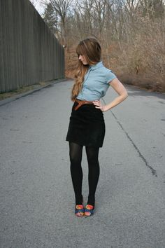 bright shoes + black tights + black skirt + brown belt + short-sleeve chambray shirt