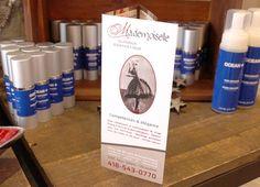Dépliant 3 volets pour Mademoiselle Clinique d'Esthétique Mademoiselle, Vodka Bottle, Drinks, Drinking, Beverages, Drink, Beverage, Cocktails