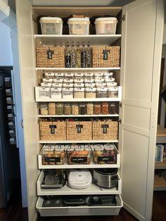 I converted an Ikea PAX wardrobe into my pantry Kitchen Organization Pantry, Home Organisation, Pantry Storage, Ikea Kitchen Storage, Closet Organization, Storage Containers, Kitchen Pantry Design, Home Decor Kitchen, New Kitchen