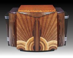 Art Deco Walnut, additional woods & Aluminum Credenza (Cabinet) by Heitzman, 1920s