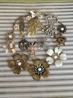 Destash Craft Lot Vintage Jewelry Bridal Bouquet by QuiltsETC, $22.00