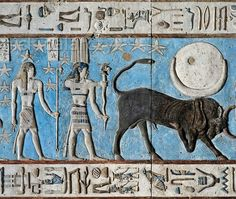 """In this detail picture the bull of Taurus is followed by a god with a two-feather crown, holding a ram-headed serpent with both hands. He personifies a constellation or star north of the Ecliptic. Behind him, carrying a staff, is the planet Mercury (called 'Sebek' by the Egyptians). In a text dating from the New Kingdom Mercury was described as """"Seth in the evening twilight and a god in the morning twilight"""