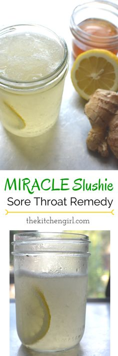 The Miracle Slushie Sore Throat Home Remedy - recipe created out of desperation for sore-throat relief. All-natural ingredients. Kids love it as a summer slushie too! www.thekitchengirl.com