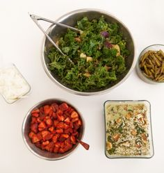 Our Lunch Today: Creamy Kale Salad, Coconut Tofu, Sauteed Asparagus, and Strawberries with Cream, Wholeliving.com