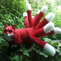 179.20$  Watch here - http://aliihg.worldwells.pw/go.php?t=32696160016 - new simulation red Fox toy handicraft Polyethylene&fur nine-tails firefox doll gift about 35x23cm