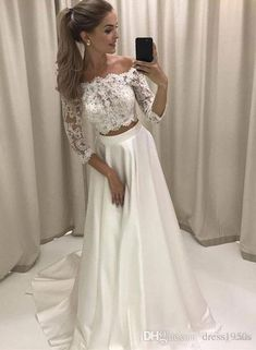 Two Piece Prom Dress,Lace Prom Dress,Sexy Prom Dress,Off-the-Shoulder Sleeves White Prom Dress With Lace White Lace Wedding Dress, Two Piece Wedding Dress, Prom Dresses Two Piece, Prom Dresses With Sleeves, Lace Evening Dresses, Wedding Dress Sleeves, Long Wedding Dresses, Cheap Wedding Dress, Bridal Dresses