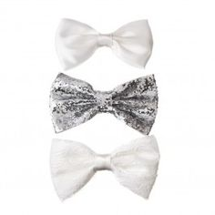 White Bow Clip 3 Pck -perfect for Ariel. Bow Clip, Passion For Fashion, Hair Accessories, Bows, My Style, Hair Styles, Beautiful, Tuxedo, Ariel