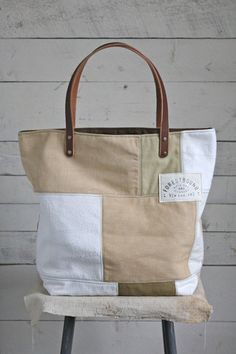 1940's-1950's era Pieced Feed Sack Canvas Tote Bag - FORESTBOUND
