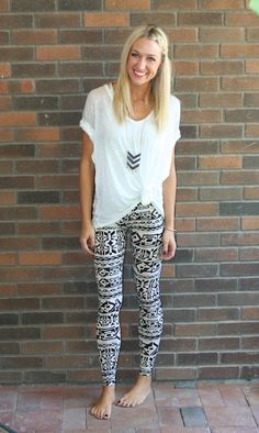 Beige Tribal Print Leggings-leggings, tribal print leggings, aztec leggings