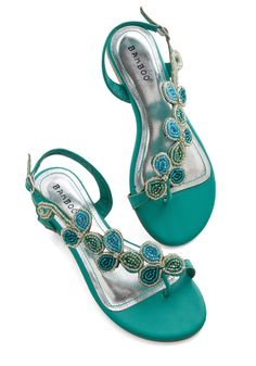Bead of a Different Drummer Sandal in Sea Green. Your eclectic style is revered by all who know you - and these rich green strappy sandals fit perfectly into your unique wardrobe! #mint #modcloth