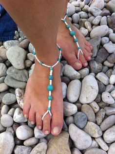 Blue and white barefoot sandal by HIPPYANNE on Etsy, $12.00