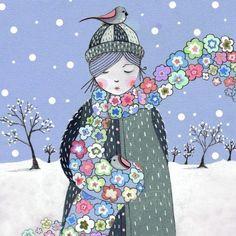 winter girl with birds crochet flower scarf