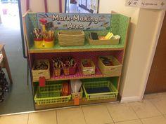 Love the covered shelves! Eyfs Classroom, Classroom Layout, Classroom Organisation, Writing Corner, Writing Area, Autumn Activities, Classroom Activities, Eyfs Curriculum, Georges Marvellous Medicine