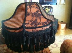 One of a Kind Victorian Fringed Lampshade Salmon by PlainJaneShop