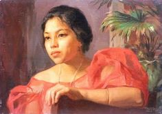 Amorsolo painting of Filipina woman