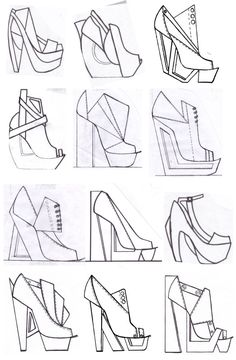 Fashion Sketchbook - footwear design drawings; shoe sketches; fashion portfolio