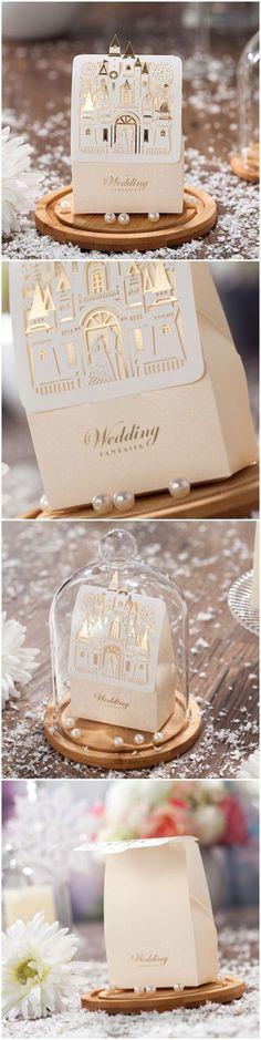 Disney fairy tale themed elegant laser cut wedding favor boxes #DisneyWeddingIdeas