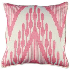 "Pink cotton throw pillow with an ikat motif.    Product: Pillow    Construction Material: Cotton    Color: Pink    Features:  Insert included  Designs symbolizing nature, good luck and fortune symbols    Handcrafted In India  Dimensions: 21"" x 21""   Cleaning and Care: Dry clean only"
