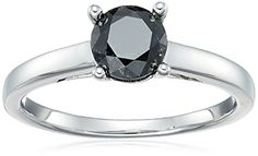 Sterling Silver Enhanced Black Round Diamond Solitaire Ring cttw, Clarity), Size 7 Product Features Give an engagement ring that is as unique as your future bride. This black diamond. Sapphire Diamond Engagement, Yellow Engagement Rings, Engagement Ring Sizes, Heart Shaped Diamond Ring, Round Diamond Ring, Wedding Rings Solitaire, Diamond Solitaire Rings, Black Diamond Rings, Black Diamonds