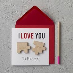50 romantic valentines cards design ideas (16)   I love you to pieces #puzzle  #handmadecard #anniversary #love #hubby #valentine